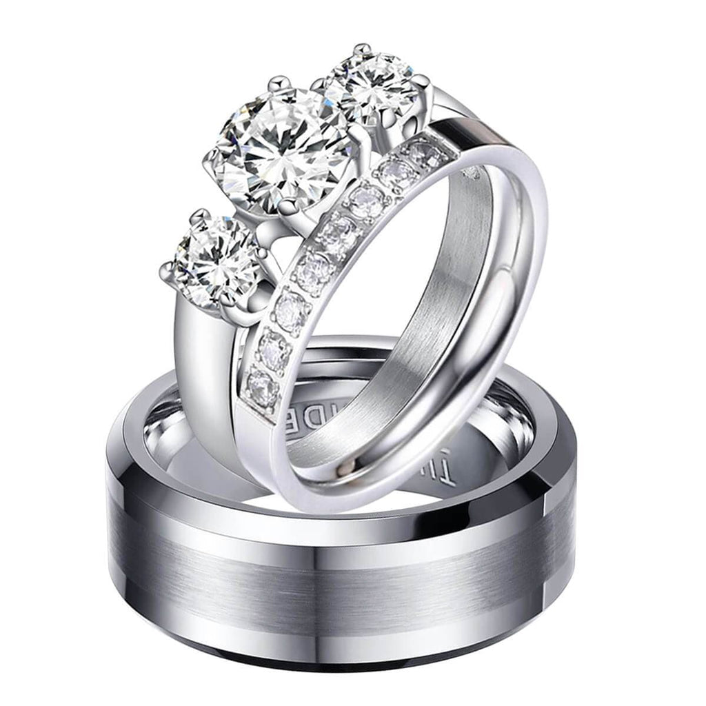 Wedding Bands Matching Set For Women and Men Tungsten Stainless Steel Ring Silver Crystal