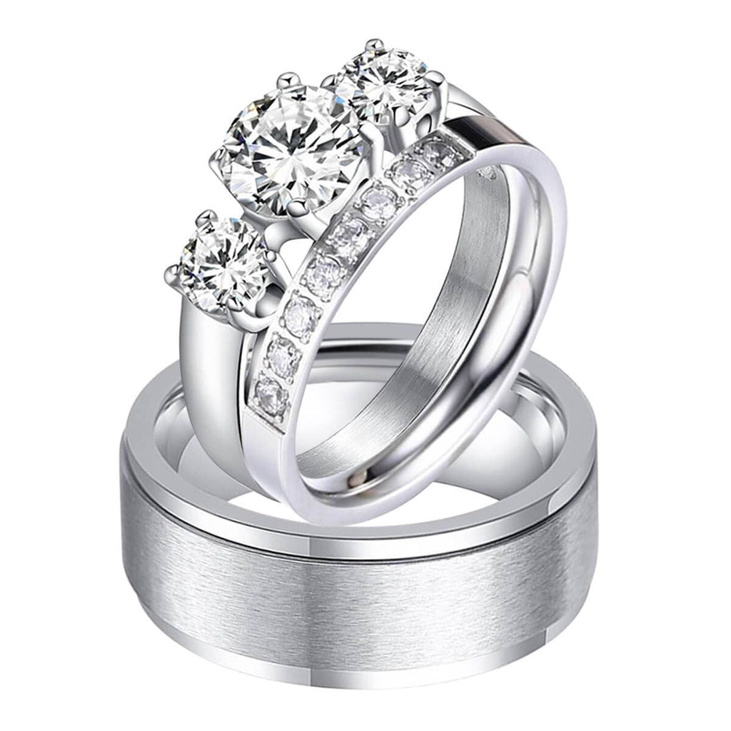Crystal Promise Rings Men and Women Stainless Steel Wedding Party Gifts Silver