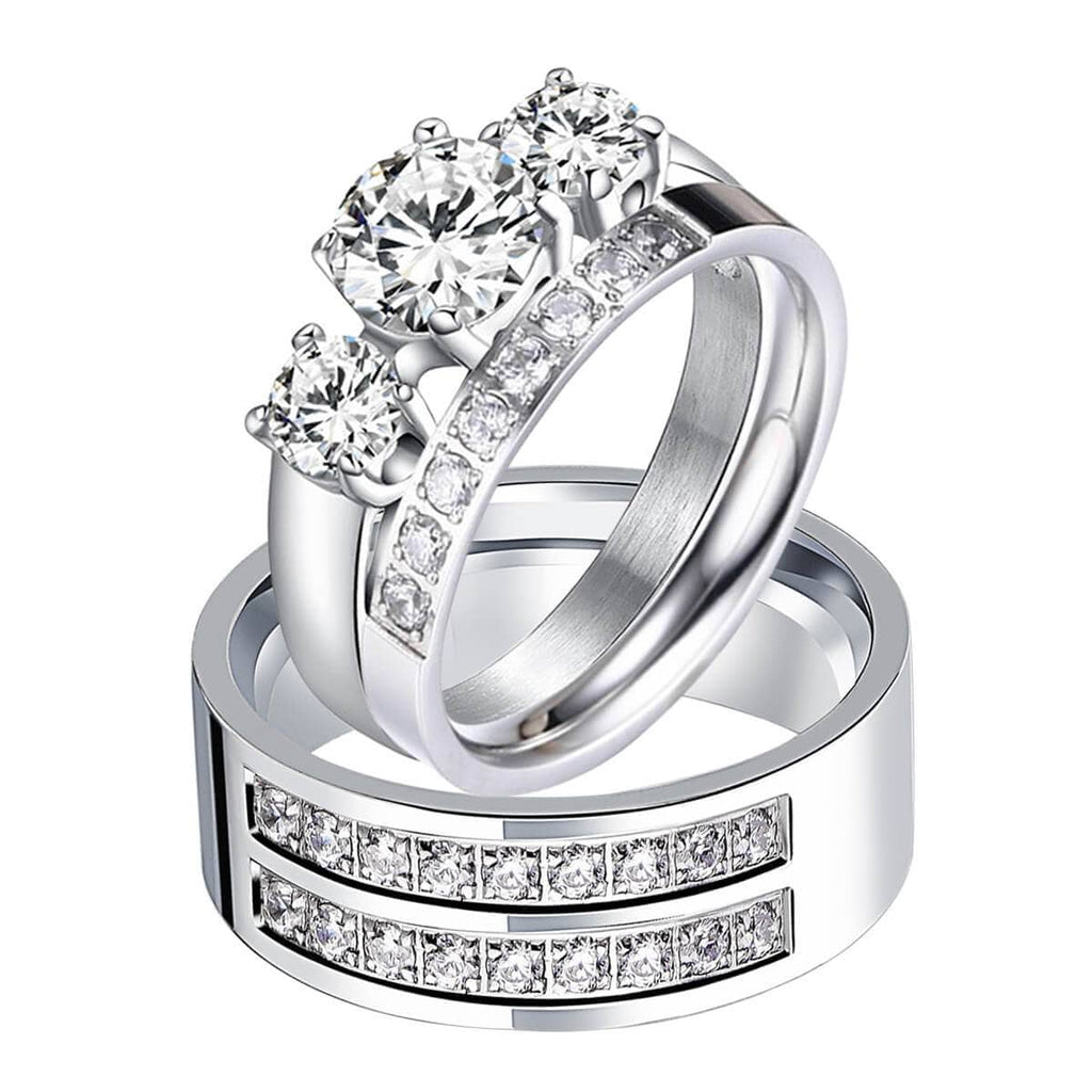 Wedding Ring Set For Him and Her Stainless Steel Cubic Zirconia Birthstones