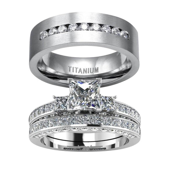 Wedding Bands For Men and Women Stainless Steel Engagement Rings Set Crystal