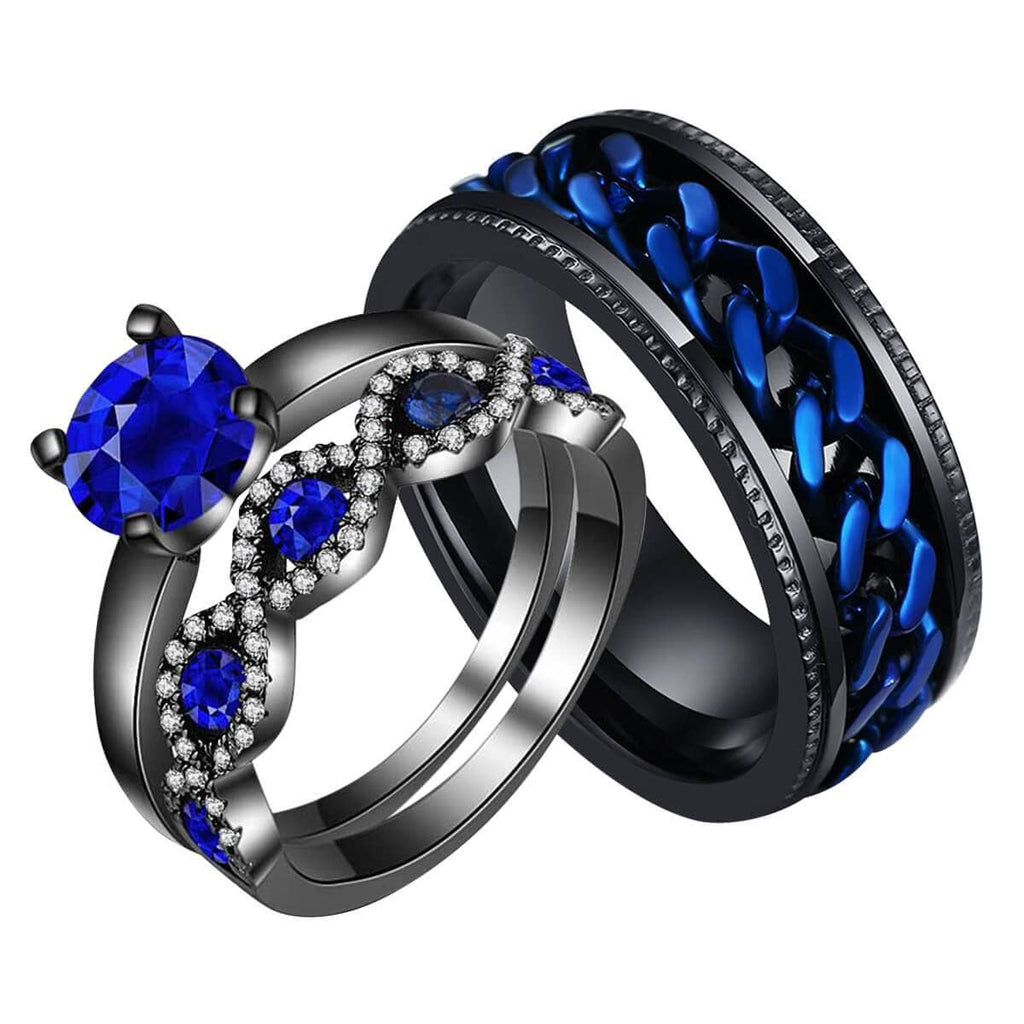 Stainless Steel Couple Rings Black Wedding Bands Set Blue White Crystal
