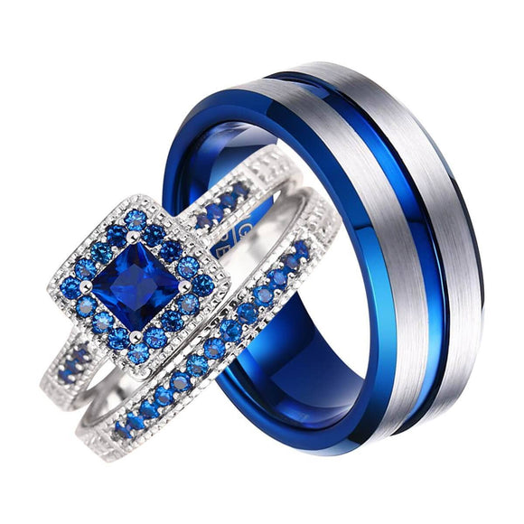Engagement Rings Blue Crystal Anniversary Wedding Bands Tungsten 925 Silver