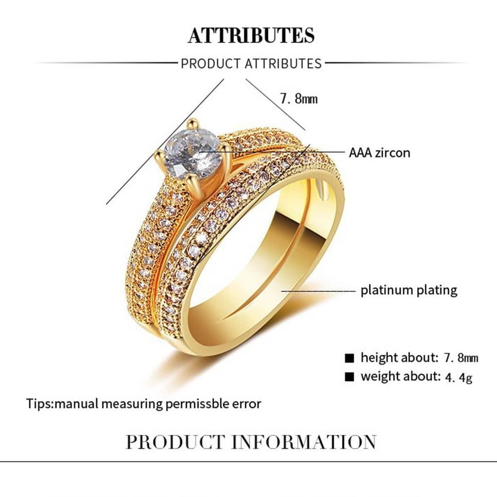 Engagement Rings Gold Stainless Steel Channel Crystal Wedding Bands