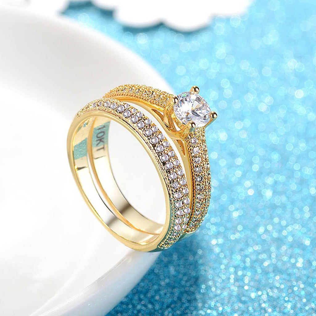 Engagement Rings Women 10k Gold Channel Crystal Wedding Bands,Men Ring in Free