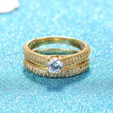 Engagement Rings Yellow Gold Men Tungsten Rings Women Gold Plated Band Crystal