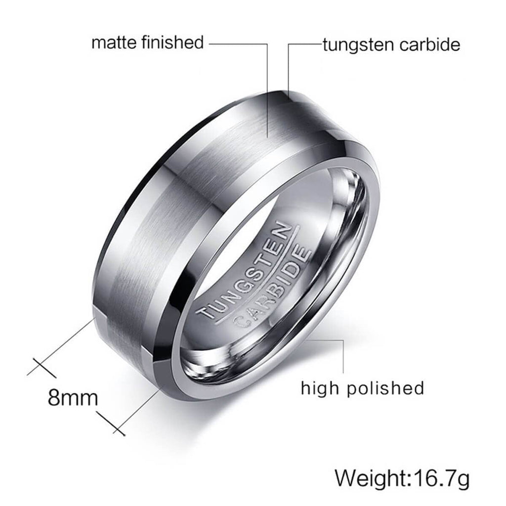 Wedding Rings For Women Men Tungsten Steel Ring Band Channel Crystal Stones