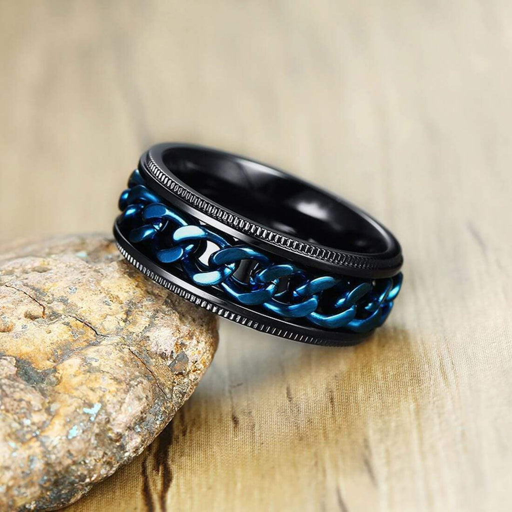 Women Rings Black Wedding Bands Set Blue White Crystal,Men Ring in Free