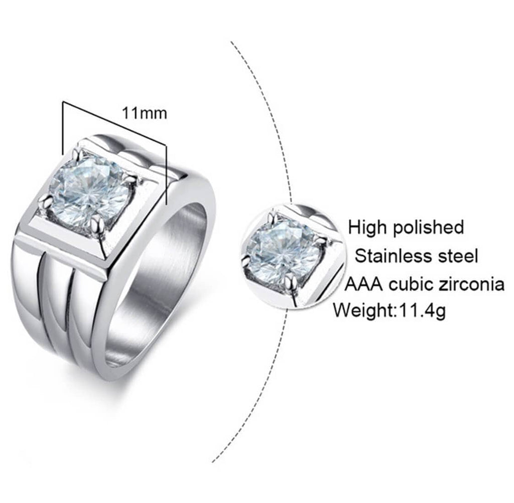 Stainless Steel Women Men Ring Set Wedding Rings Princess Cut Crystal