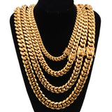 Men Gold Necklace Chain Stainless Steel Cuban Chain Hiphop Necklace 18-30 Inch