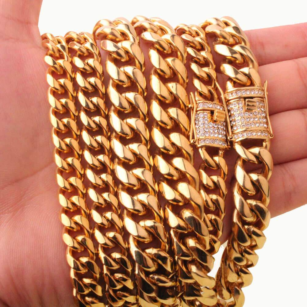 Men Gold Necklace Choker Stainless Steel Cuban Chain 8/10/12/14MM