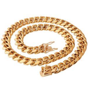 Men Gold Necklace Design Stainless Steel Miami Cuban Chain 8/10/12/14MM