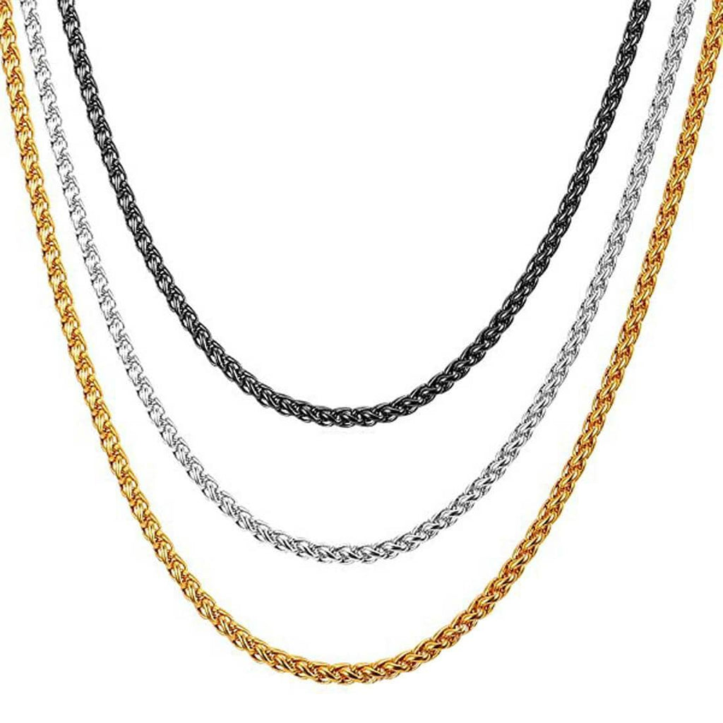 Gold Necklace Design for Men Stainless Steel Basket Chain Black Silver
