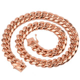 Rose Gold Necklace for Men Stainless Steel Miami Link Cuban Chain 8/10/12/14MM