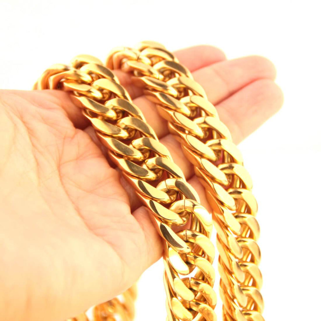 Men Gold Necklace Jewelry Stainless Steel Polished Chain Chunky 6/8/10/12/14MM