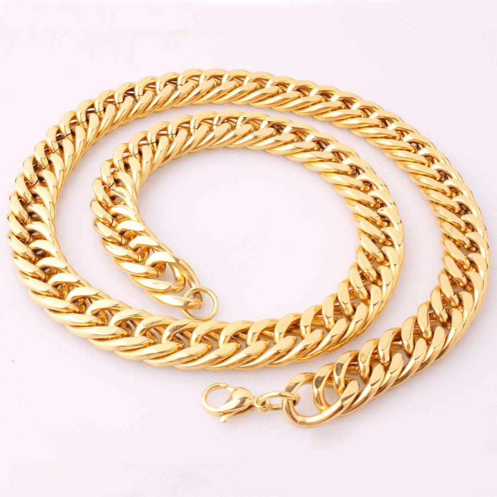 Gold Necklace Men Stainless Steel Plated Gold Chain Polished 6-18MM