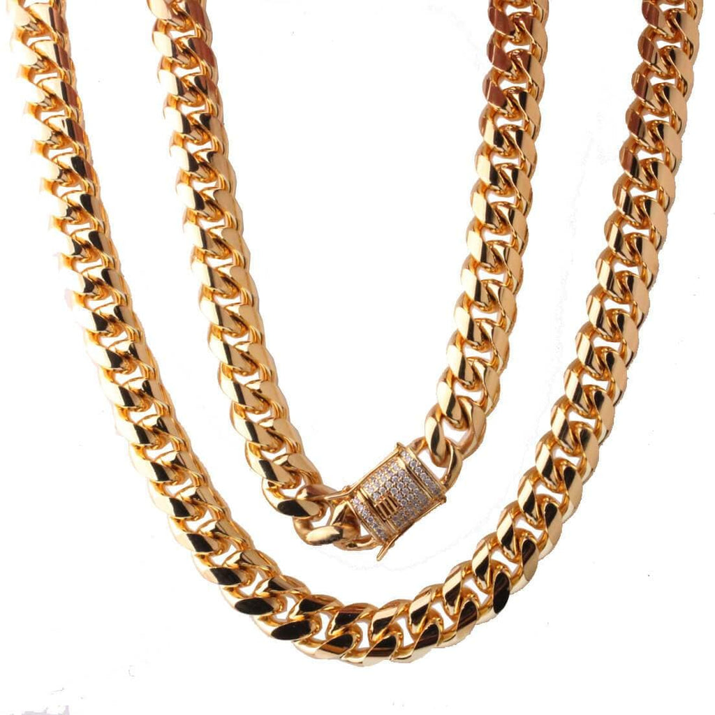 Men Gold Necklace Thick Stainless Steel Crystal Necklace Gifts 14MM