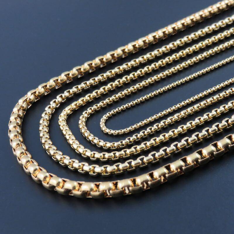 Men Gold Necklace 18K Gold Plated Stainless Steel Box Chain 50/60/70/80MM