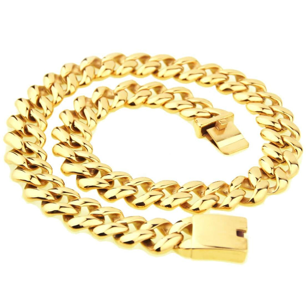 Men Gold Chain Choker Stainless Steel Chunky Necklace Hiphop Chain 21MM 60CM