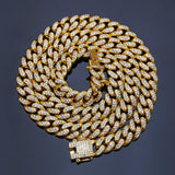 Men Gold Chain Cuban Link Gold Plated Crystal Necklace Silver