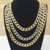 Necklace Chain for Boys Gold Plated Crystal Cuban Link Heavy Necklace Silver