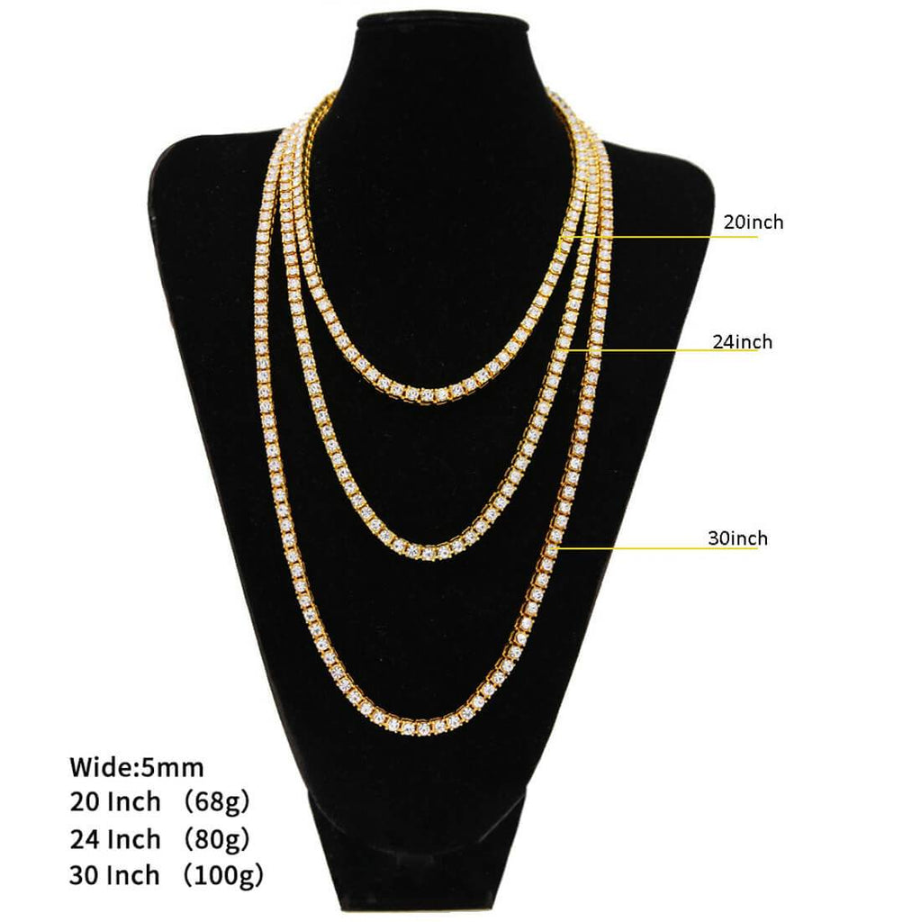 Gold Chain for Men Gold Plated Crystal Necklace Hiphop Link 18-36Inch