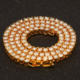 3MM/4MM Gold Chain for Men Women Gold Plated Crystal Necklace Link