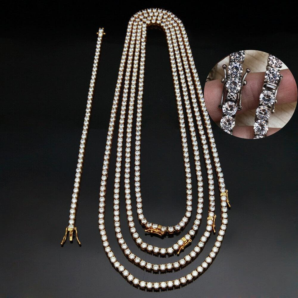 Men Gold Chain Hip Hop Stainless Steel Necklace 4MM Crystal Chain