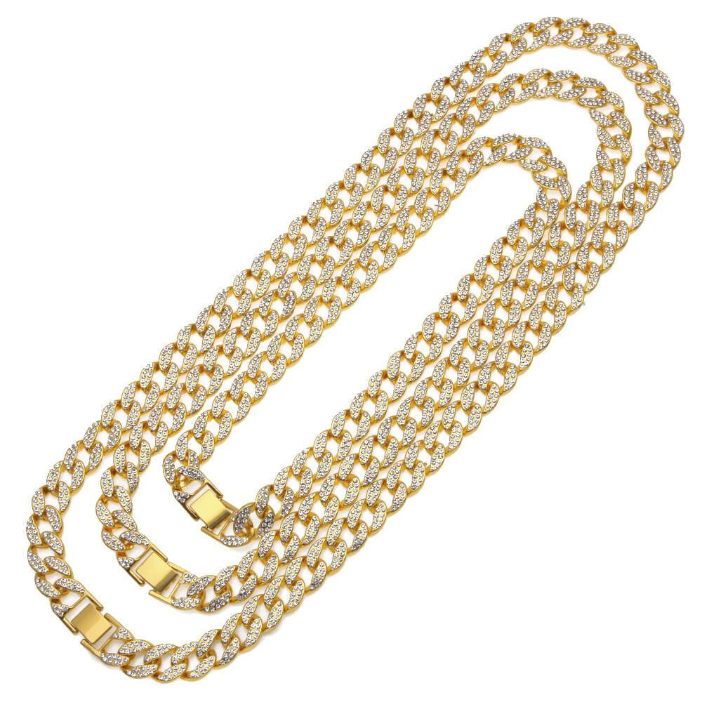 Men Gold Chain Jewelry Gold Plated Crystal Cuban Chain 18-30 Inches