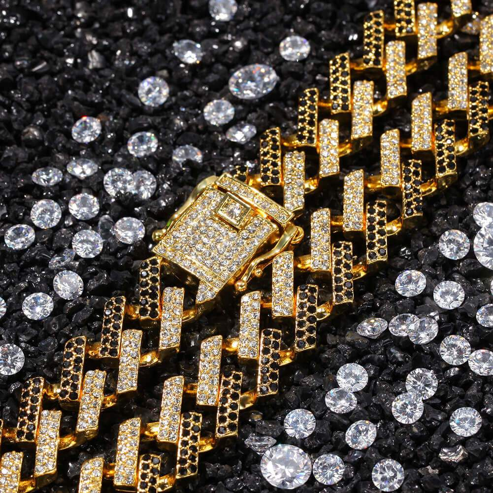 Men Gold Chain Links Gold Plated Crystal Necklace Miami Cuban Chain