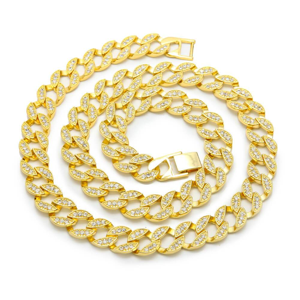 Gold Chain Men Gold Plated Crystal Cuban Chain Hiphop Necklace