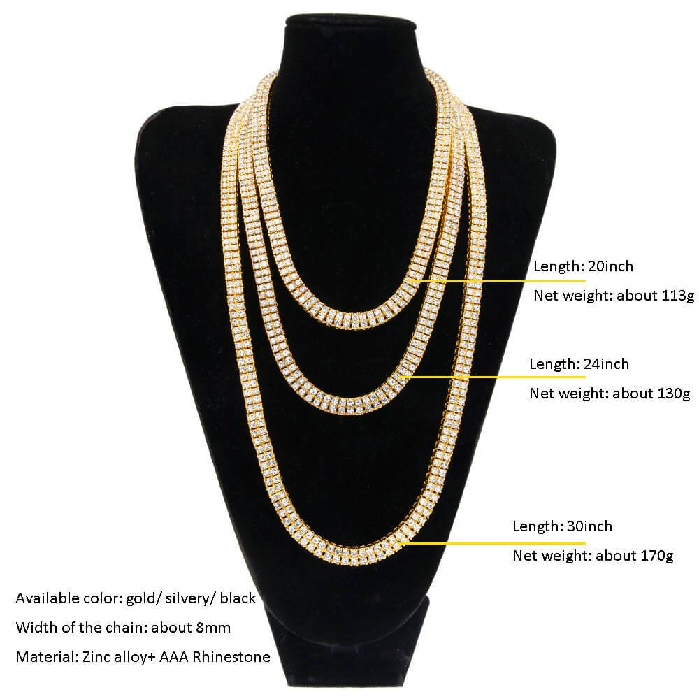 Gold Chain Men Cuban Link Gold Plated Crystal Necklace Hiphop Rock