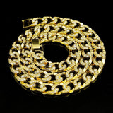 Gold Chain Necklace Mens Gold Plated Crystal Cuban Chain Silver 30 Inch