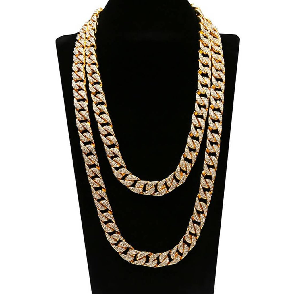 Men Gold Chain Silver Thick Gold Plated Cuban Chain Boys Crystal 50/60/75CM