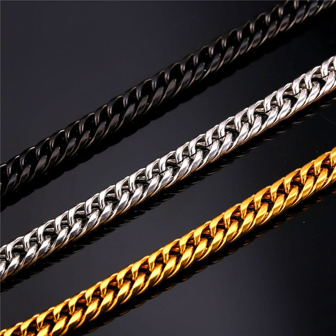 Men Gold Chain Chunky Necklace Hiphop Stainless Steel Jewelry 13MM