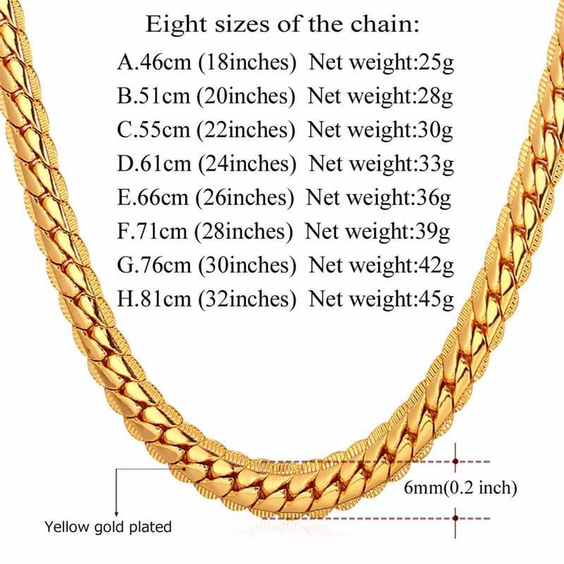 Men Chain Choker Gold Plated Hip Hop Chain Necklace Chunky