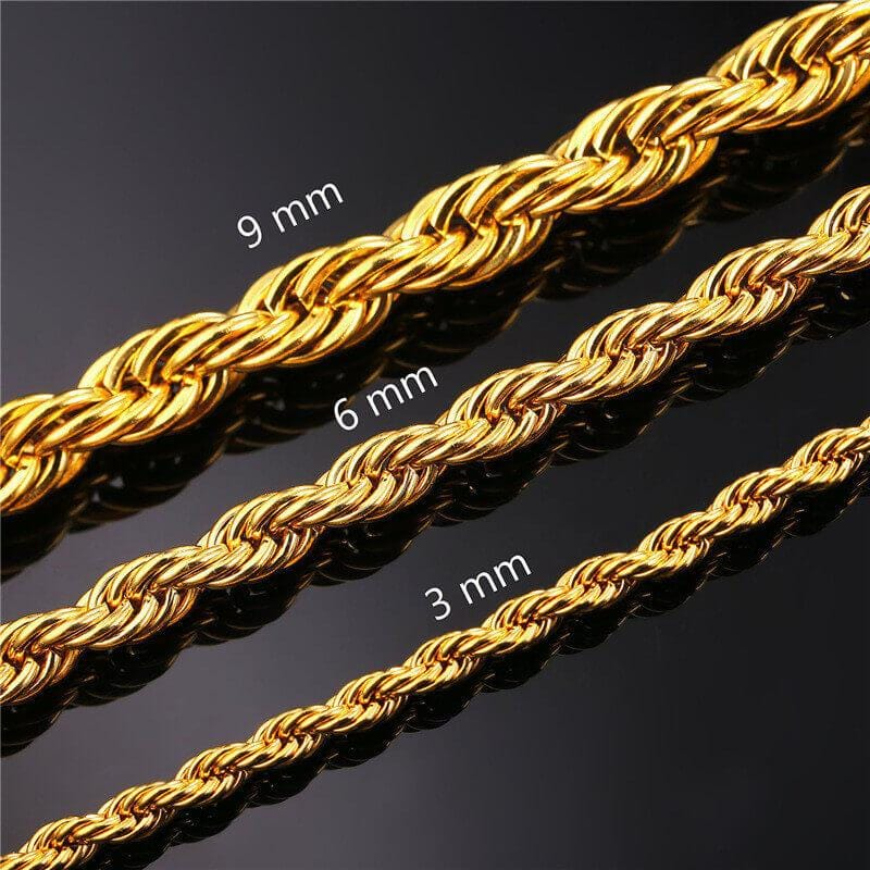 Men Necklace Gold Stainless Steel Twist Chain 9MM