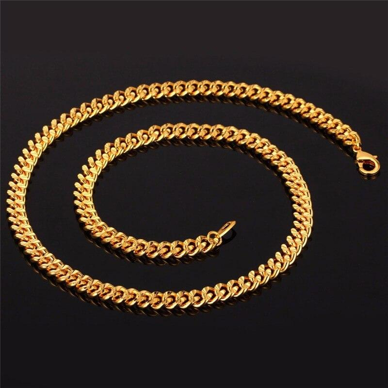 Men Chain Necklace Gold Plated Necklace Jewelry Wedding Party Favors