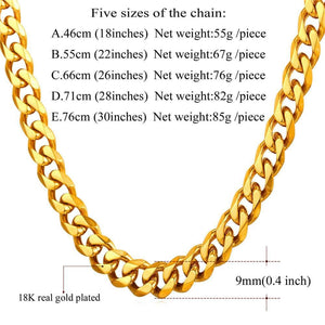 Men Gold Necklace Stainless Steel Hiphop Chain Necklace Jewelry Gifts
