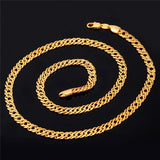 Men Chunky Necklace 18k Gold Plated Hiphop Chain Punk Necklace