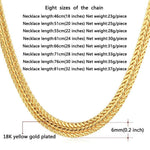 Gold Necklace Men Gold Plated Hiphop Chain Link Necklace Personality 6MM