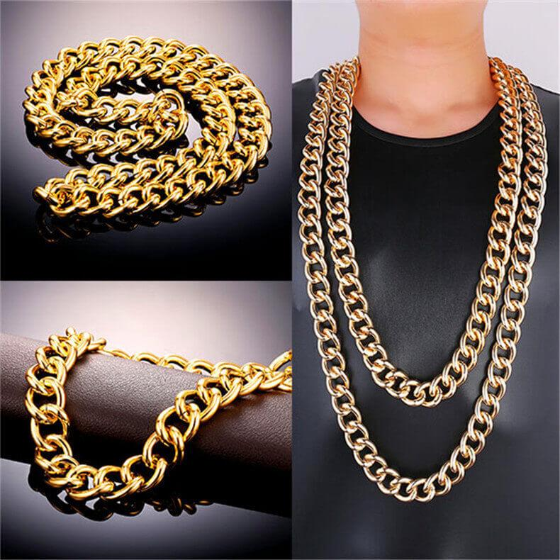 Cuban Chain for Men Gold Plated Heavy Chunky Necklace Jewelry
