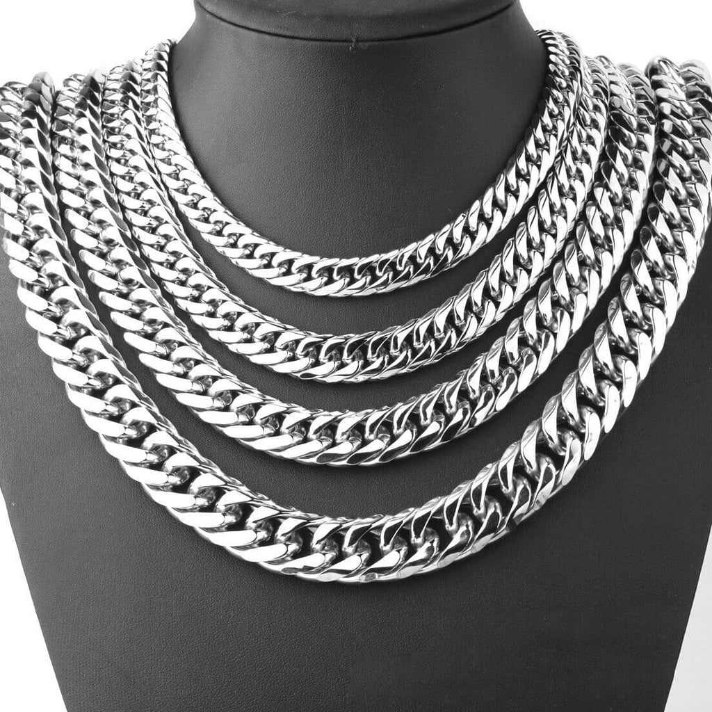 Men Gold Chain Necklace Stainless Steel Heavy Chain Chunky 9/11/13/16/19/21MM