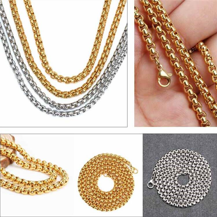 Men Necklace Chain Gold Silver Stainless Steel Necklace Gifts for Boys