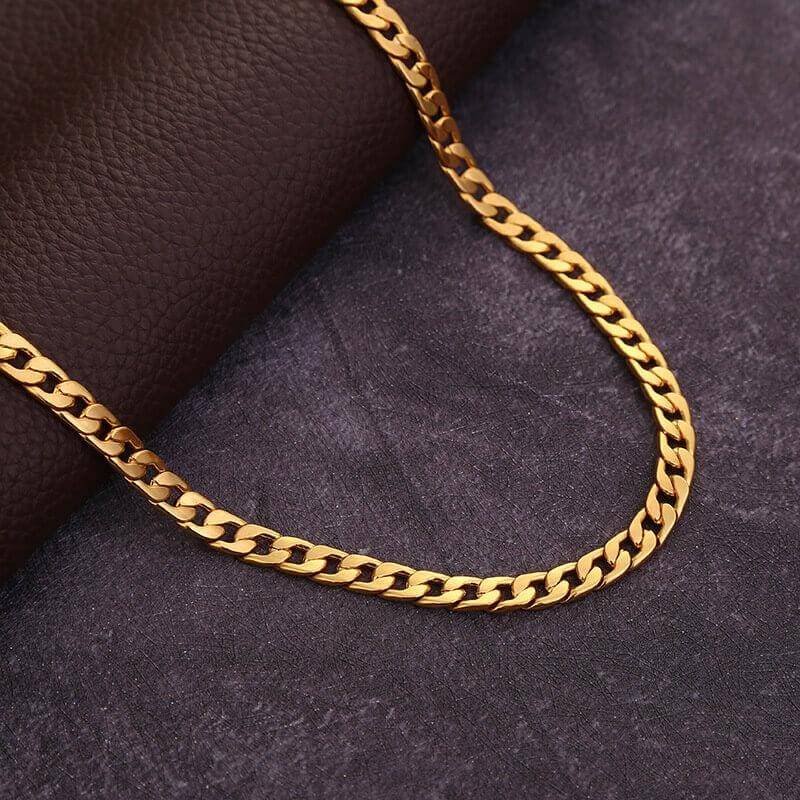 Men Necklace Chain Link 18K Gold Plated Necklace 6MM 16-32 Inch
