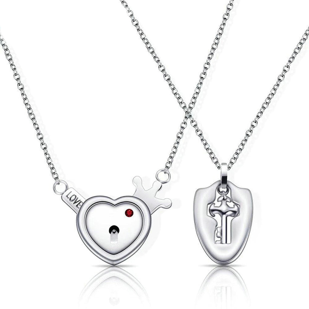 Stainless Steel Heart Key Couple Necklace