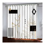 AnaDx Collection Drapes for Bedroom Blackout 2 Panel Sets, Thermal Room Darkening Curtains Abstract Geometry White Black Home Decorative