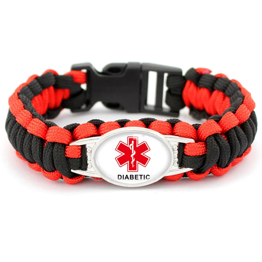 Medical Bracelet Diabetes for Women 8.5 in Men Bracelet Nylon DIABETIC Medical Signs for Outdoor