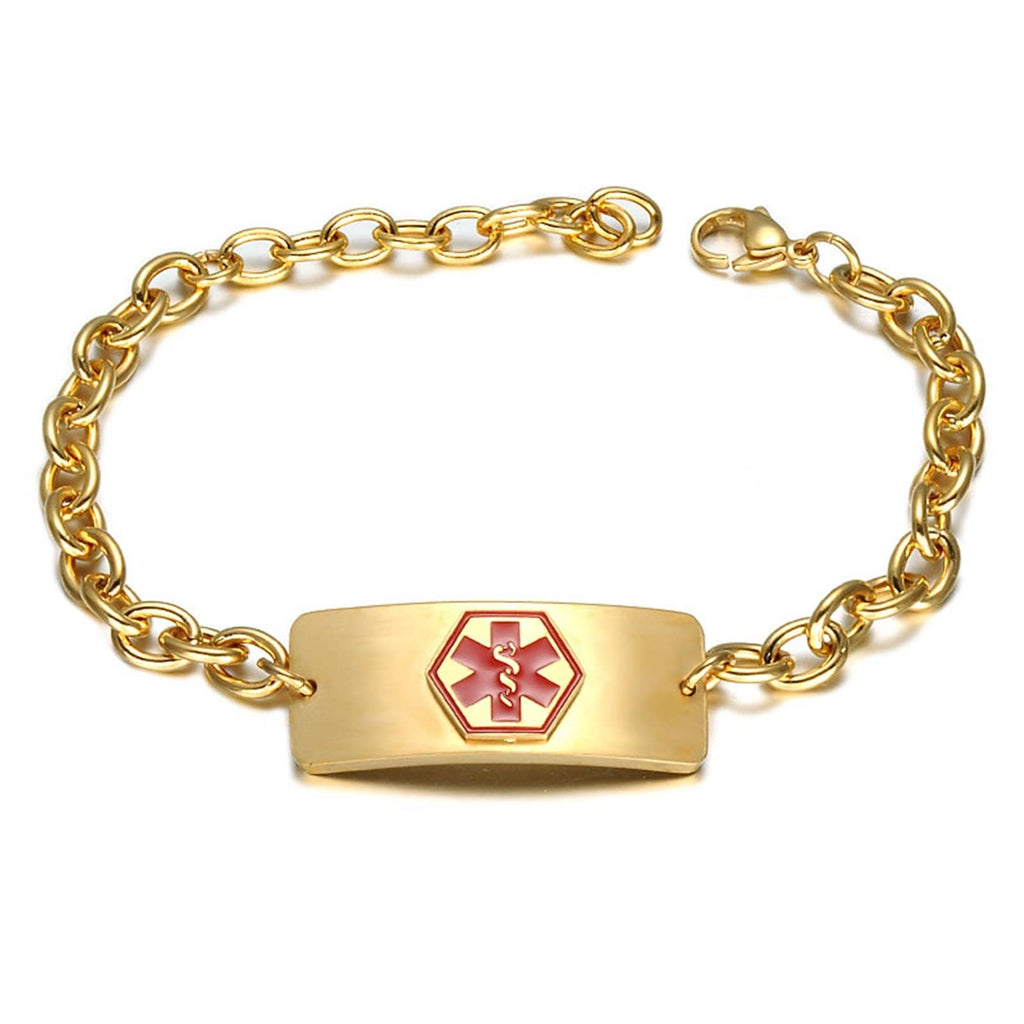Medical Alert Id Bracelet Gold Bracelet Stainless Steel for Men Rolo Chain Tag Medical Signs