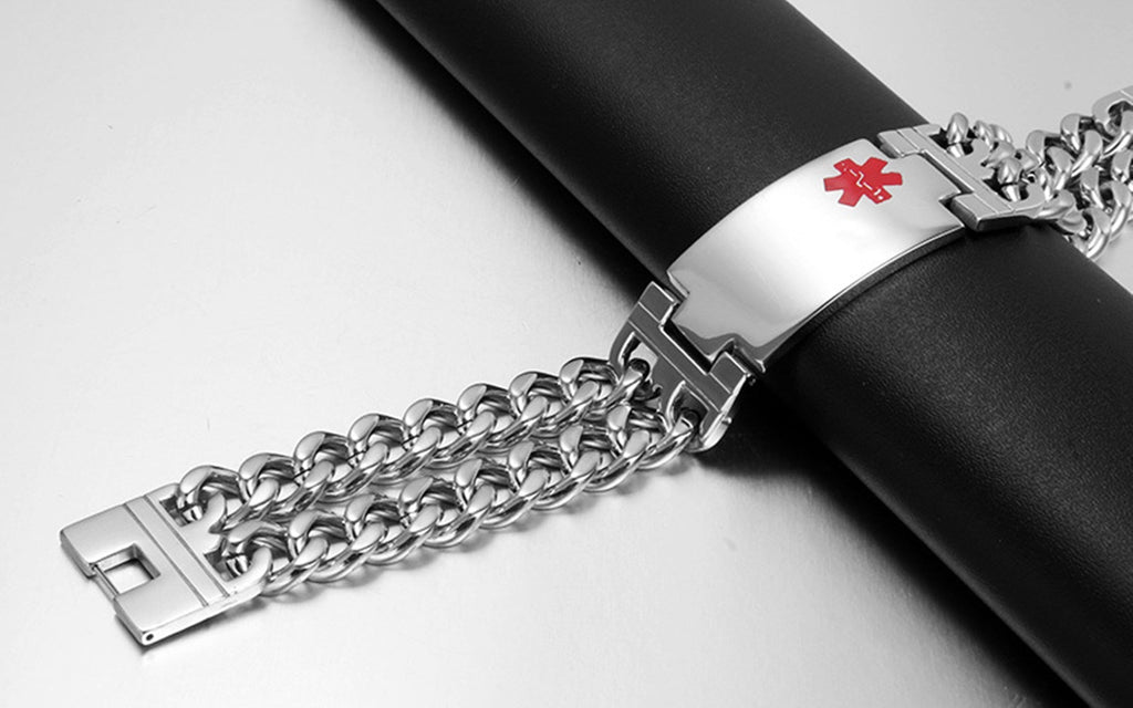 Alert Bracelet Women Stainless Steel Bracelet Women Double Curb Chain Tag Medical Signs
