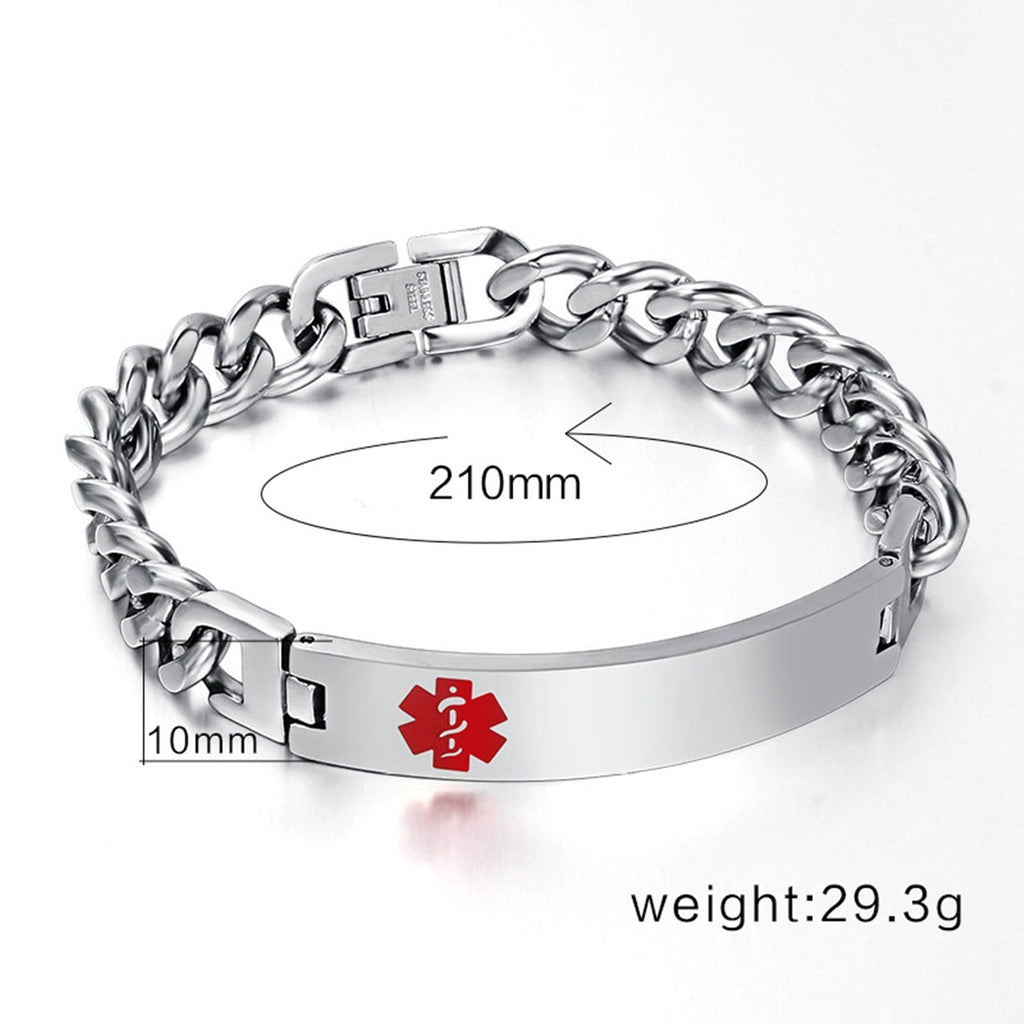 Medic Bracelets for Women Stainless Steel Bracelet for Women Curb Chain Tag Medical Signs